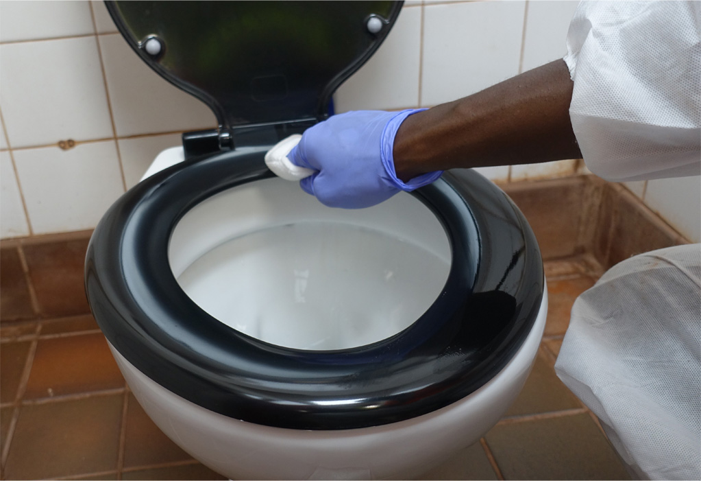 Touchpoint shield toilet coating